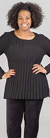 Skye's the Limit 83260-Onyx - Womens Lurex Rib Knit Sweater With Pearl Accent