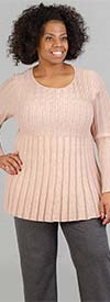 Skye's the Limit 83260-Peach - Womens Lurex Rib Knit Sweater With Pearl Accent
