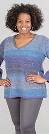 Skye's the Limit 83266-Blue - Womens V-Neck Sweater With Ombre Stripe Design