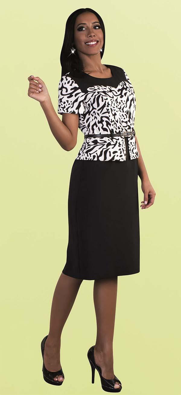 Tally Taylor 9438-Black - One Piece Dress With Animal Print
