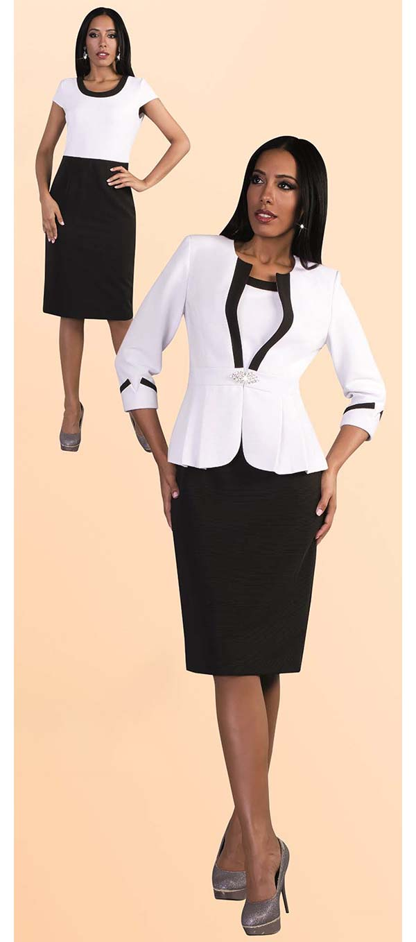 Tally Taylor 9439-White - Two Piece Dress Suit With Pleated Detail