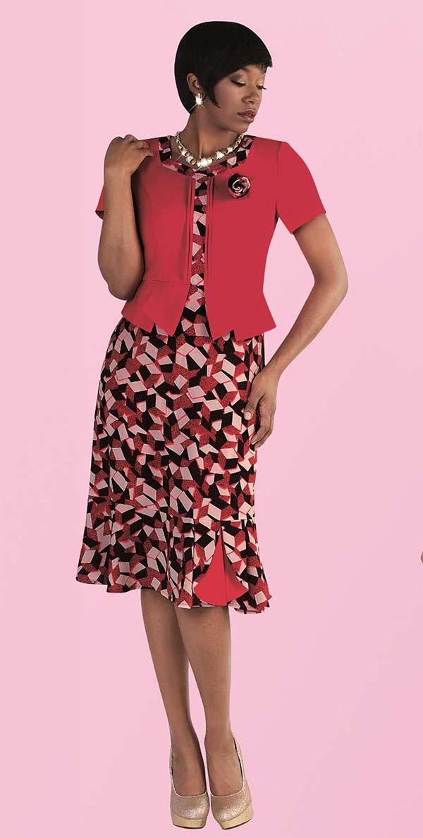 Tally Taylor 9442-Lipstick - One Piece Dress With Geometric Print