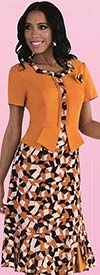 Tally Taylor 9442-Mustard - One Piece Dress With Geometric Print