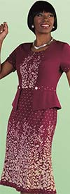 Tally Taylor 9443-Plum - One Piece Dress With Foliage Print
