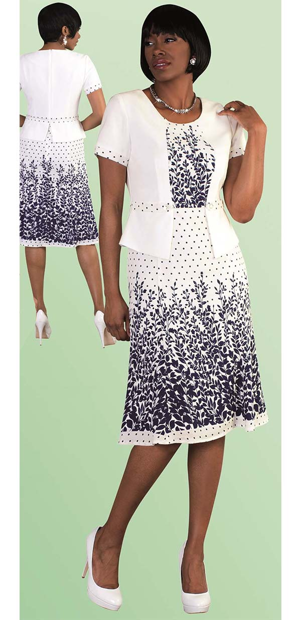 Tally Taylor 9443-White - One Piece Dress With Foliage Print