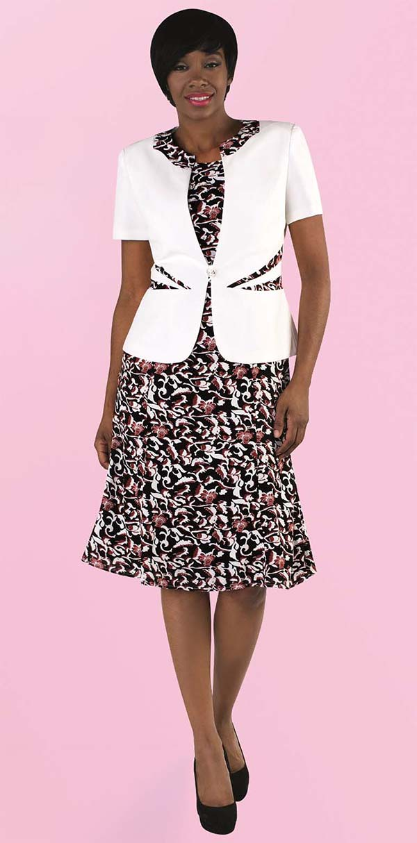 Tally Taylor 9446-White - Two Piece Flared Dress In Floral Print