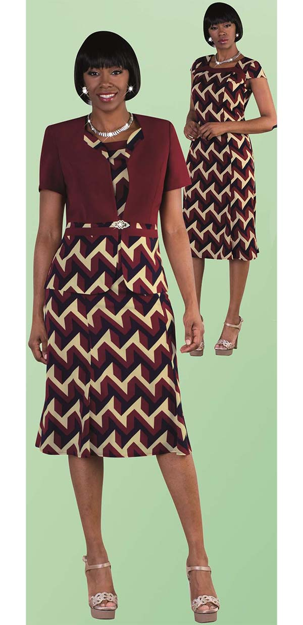 Tally Taylor 9447-Burgundy - Two Piece Dress Suit In Geometric Print