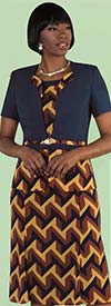 Tally Taylor 9447-Navy - Two Piece Dress Suit In Geometric Print
