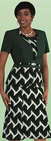 Tally Taylor 9447-Pine - Two Piece Dress Suit In Geometric Print