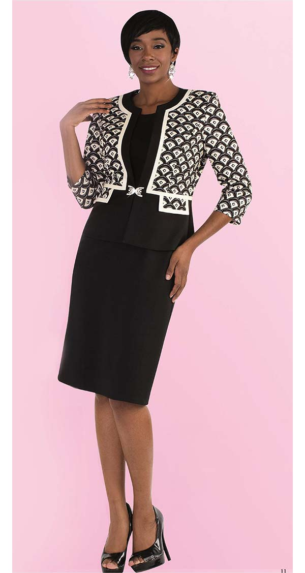 Tally Taylor 9448 Two Piece Dress Suit With Arch Pattern Print