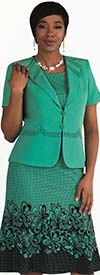 Tally Taylor 9450-Mint - Two Piece Flared Dress Suit In Floral Print