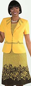 Tally Taylor 9450-Yellow - Two Piece Flared Dress Suit In Floral Print