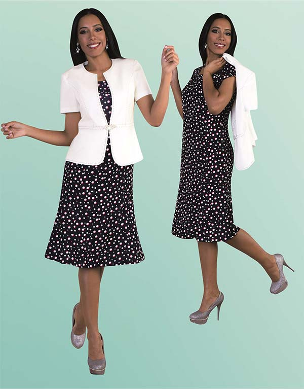 Tally Taylor 9453 Two Piece Flared Dress Suit With Multi Color Polka Dots