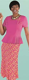Tally Taylor 9455-Fuchsia - Two Piece Womens Skirt Suit With Pleated Detail