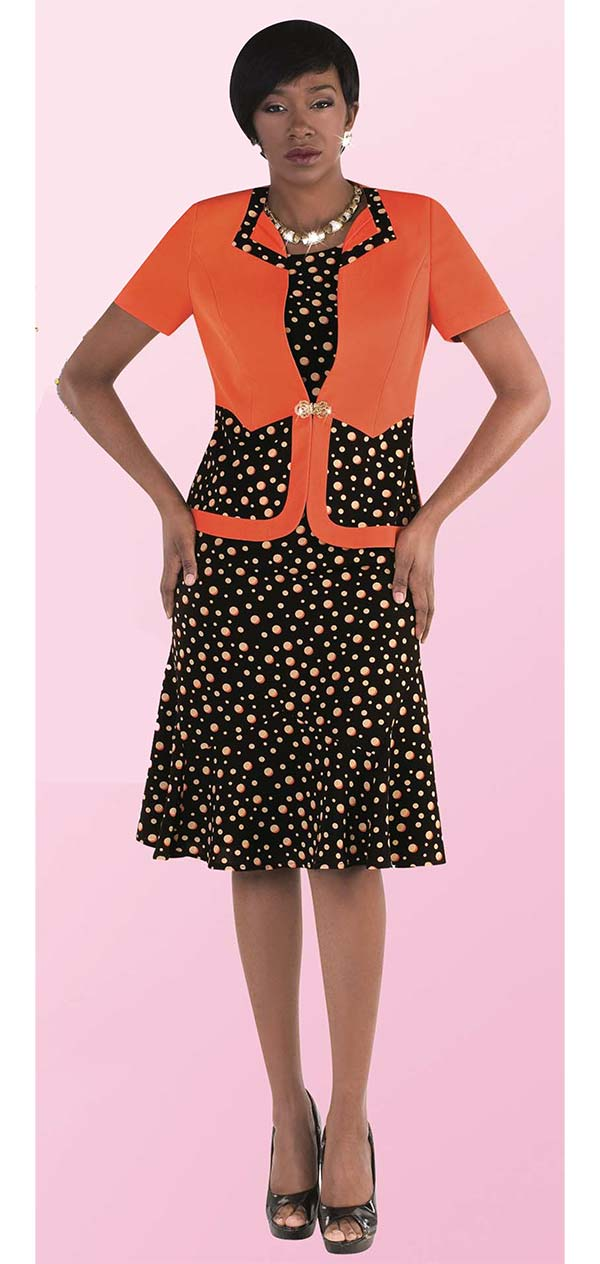 Tally Taylor 9456-BrownOrange - Two Piece Dress In Multicolor Polka Dot Print