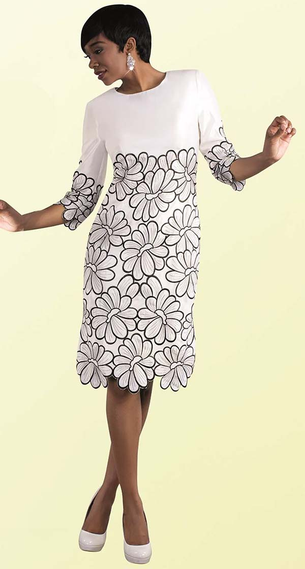 Tally Taylor 9457-White - One Piece Dress With Floral Embroidery Details