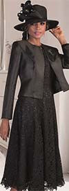 Tally Taylor 4529 - Graceful Lace Dress Suit With Solid Jacket & Brooch