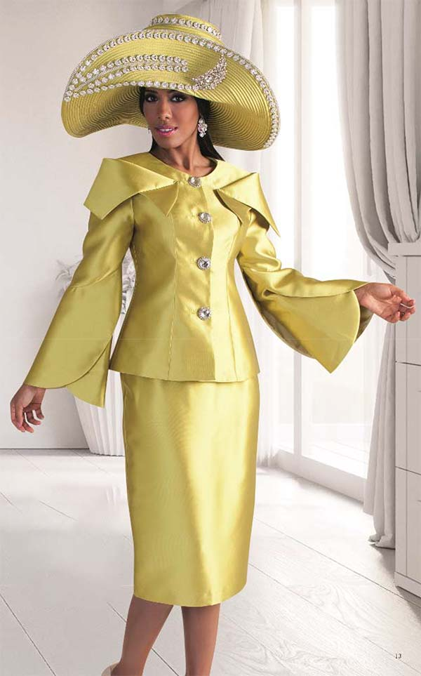 Tally Taylor 4570 - Expanded Collar Tulip Sleeve Jacket & Skirt Set