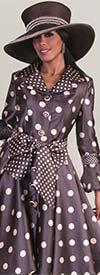 Tally Taylor 4592 - Polka Dot Design Dress With Sash & Layered Lapels