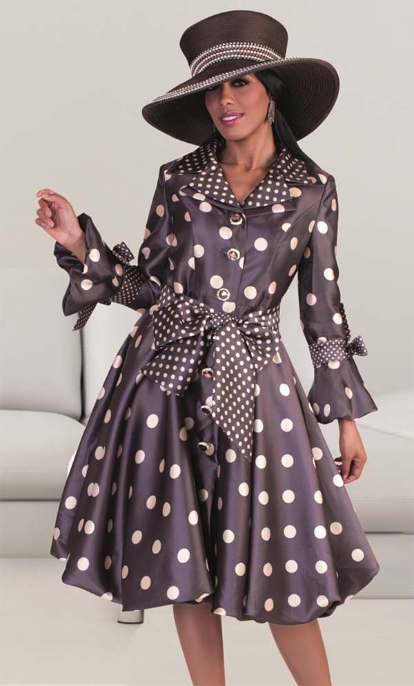 Tally Taylor 4592 - Polka Dot Design Dress With Sash & Layered Lapels