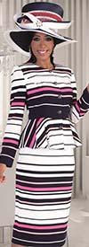 Tally Taylor 4618 - Pinstripe Design Peplum Jacket & Skirt Set