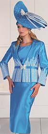 Tally Taylor 4619-Aqua - Wheat Flower Embroidery Detail Design Skirt Set