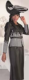 Tally Taylor 4619-Black - Wheat Flower Embroidery Detail Design Skirt Set