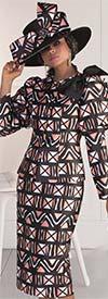 Tally Taylor 4622 - Puff Sleeve Jacket & Skirt Set In Geometric Pattern Design