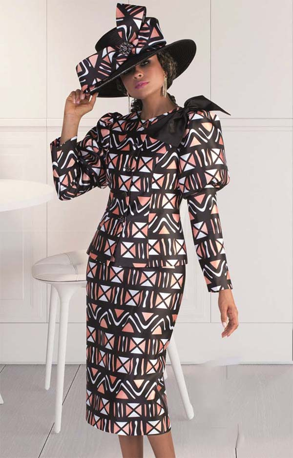 Tally Taylor 4622 - Puff Sleeve Jacket & Skirt Set In Geometric Pattern Design