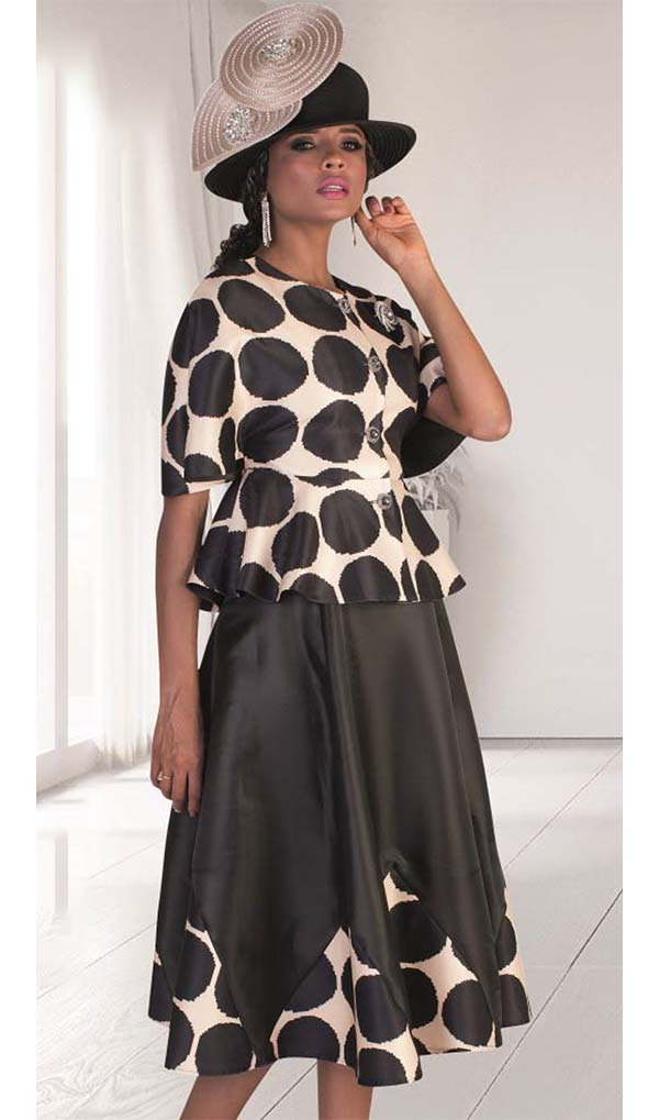 Tally Taylor 4623-BlackChampagne - Two Piece Skirt Set With Polka Dot Print & Jeweled Buttons