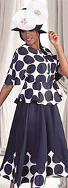 Tally Taylor 4623-NavyWhite- Two Piece Skirt Set With Polka Dot Print & Jeweled Buttons