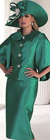 Tally Taylor 4625-Emerald - Two Piece Church Suit With Butterfly Sleeves & Peter Pan Collar