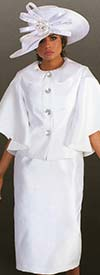 Tally Taylor 4625-White - Two Piece Church Suit With Butterfly Sleeves & Peter Pan Collar