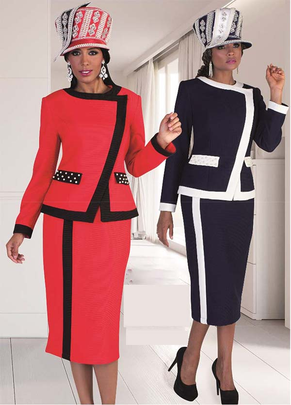 Tally Taylor 4627 - Womens Wrap Jacket & Skirt Set In Two Toned Color With Pearl Embellishments
