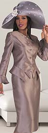 Clearance Tally Taylor 4633 - Bell Cuff Sleeve Jacket & Skirt Set With Rhinestone Brooch