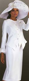 Tally Taylor 4633-White - Bell Cuff Sleeve Jacket & Skirt Set With Rhinestone Brooch