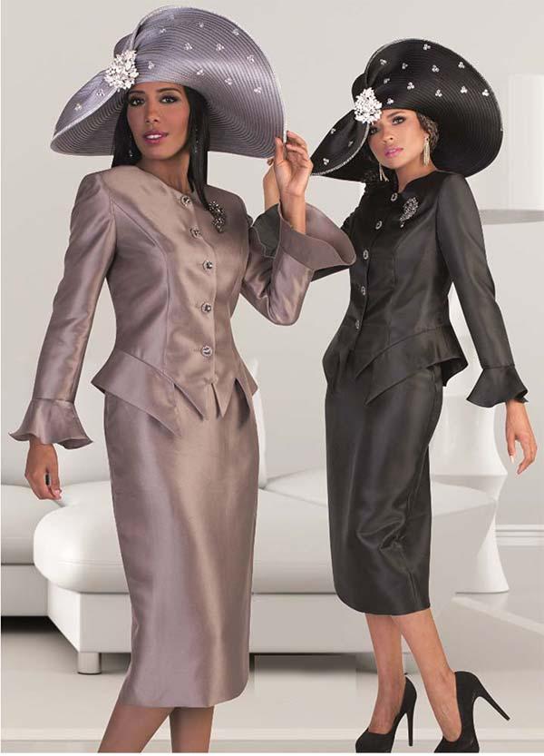 Tally Taylor 4633 - Bell Cuff Sleeve Jacket & Skirt Set With Rhinestone Brooch