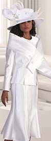 Tally Taylor 4636-White - Two Piece Dress Suit With Cross Layered Wrap Detail