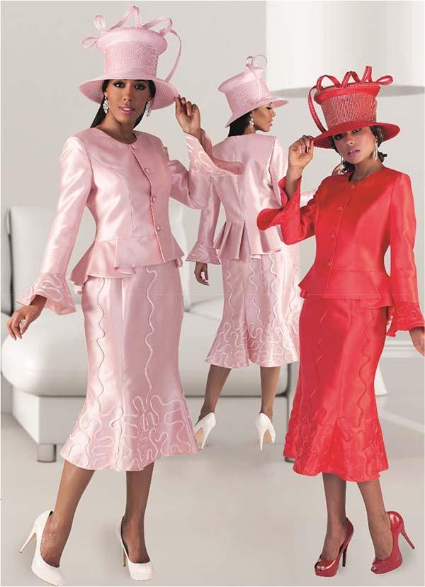 Tally Taylor 4639 - Bell Cuff Sleeve Peplum Jacket & Skirt Set With Rhinestone Buttons