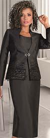 Tally Taylor 4643 - Fringe Detailed Jacket & Skirt Set With Jeweled Buckle