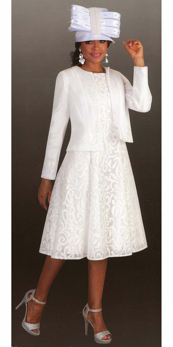 Tally Taylor 4644-White - Two Piece Church Dress Suit With Mesh Jacket