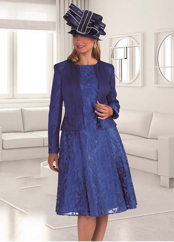 Tally Taylor 4644-Navy - Two Piece Church Dress Suit With Mesh Jacket