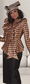 Tally Taylor 4645-Gold - Two Piece Church Skirt Outfit With Ruffled Houndstooth Print Jacket