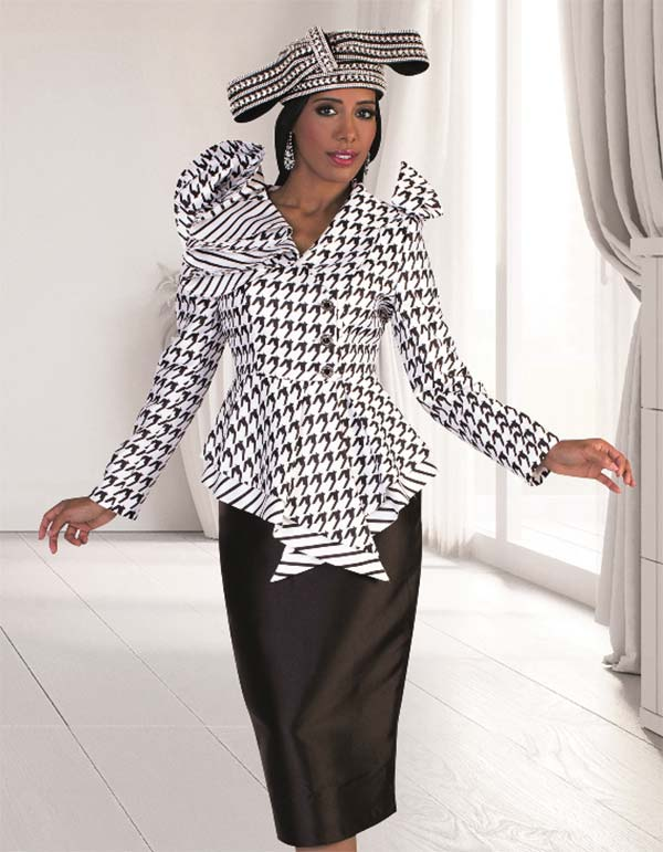 Tally Taylor 4645-White - Two Piece Church Skirt Outfit With Ruffled Houndstooth Print Jacket