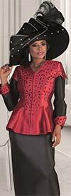 Tally Taylor 4647 - Laser Cut Design Peplum Jacket & Skirt Set With Cuffed Detail
