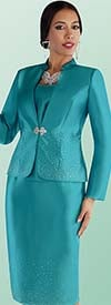 Tally Taylor 4684 - Rhinestone Embellished Skirt Suit With Short Stand Up Collar Jacket