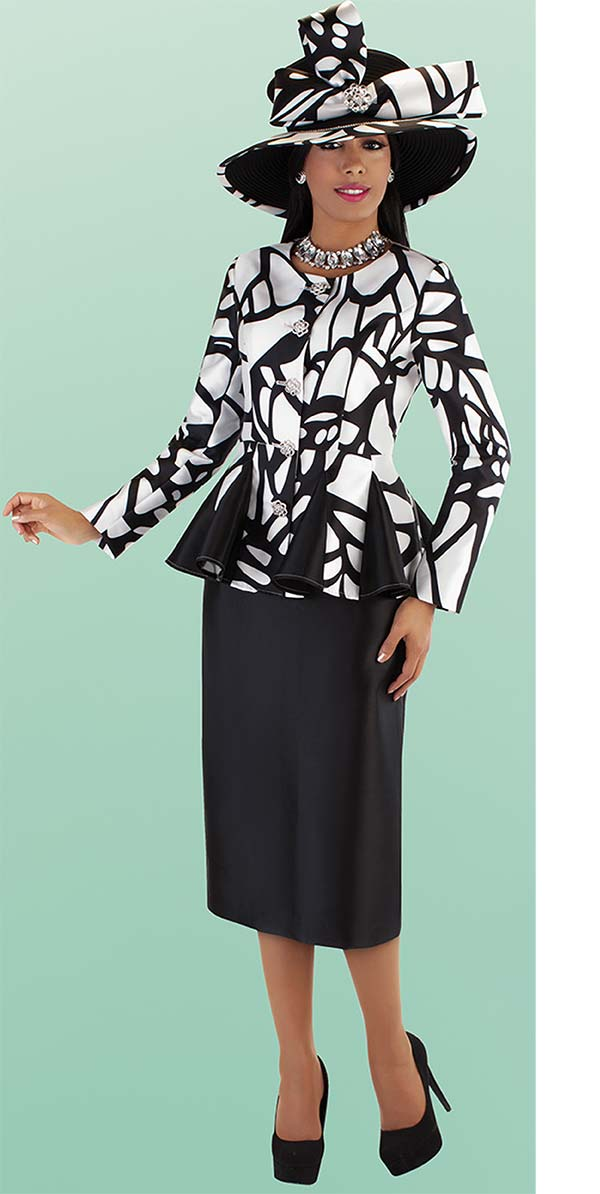 Tally Taylor 4686-BlackWhite - Skirt Suit With Abstract Printed Pleated Peplum Jacket
