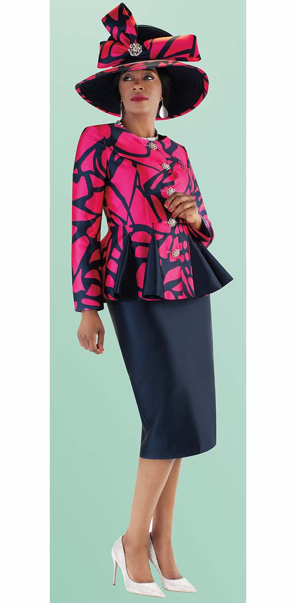 Tally Taylor 4686-NavyFuchsia - Skirt Suit With Abstract Printed Pleated Peplum Jacket