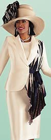 Tally Taylor 4687 - Three Piece Skirt Suit With Asymmetrical Pleated Drape Jacket