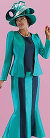 Tally Taylor 4689-Peacock - Mermaid Flare Skirt Suit In Two Tone Color Design